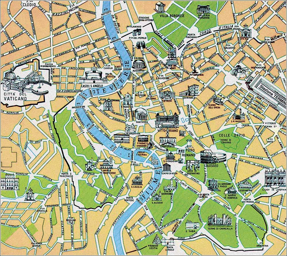 Map Of The Old City Of Rome, Italy